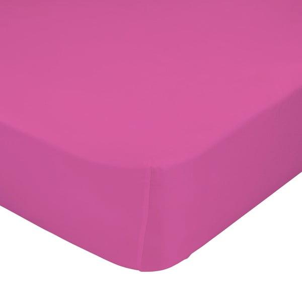 Różowe elastyczne prześcieradło HF Living Basic, 90x200 cm