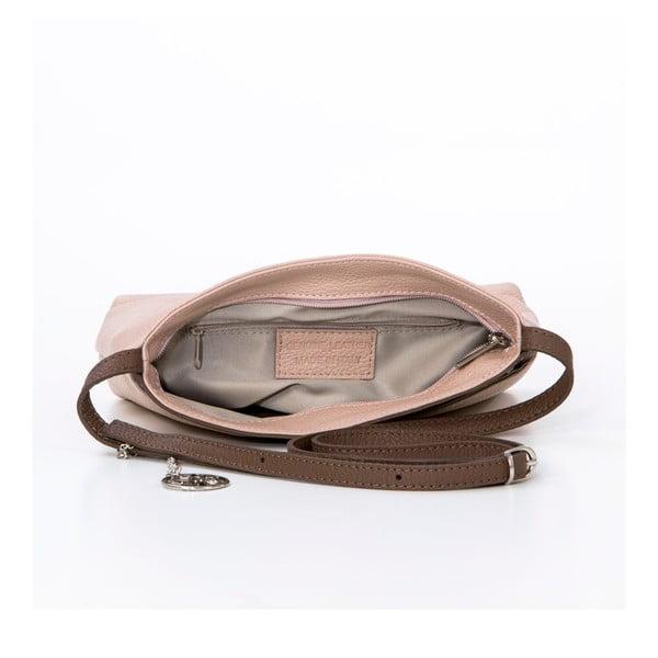 Skórzana torebka Francesco, pudrowo-brązowa
