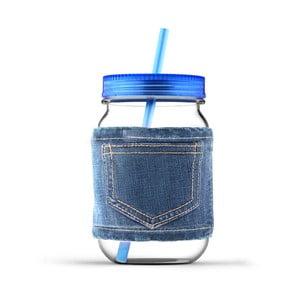 Słoik ze słomką Jeans Blue