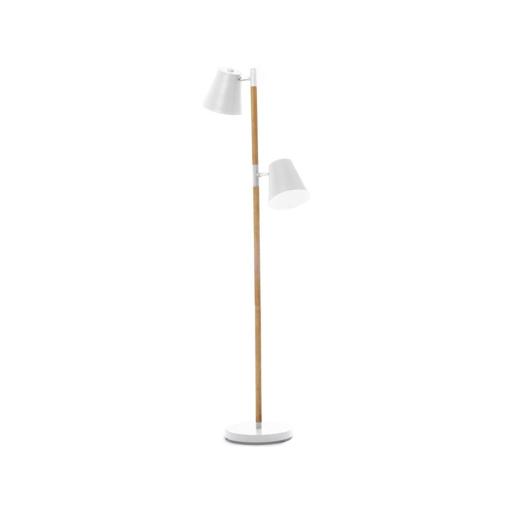 Biała lampa stojąca z drewnianymi szczegółami Leitmotiv Rubi