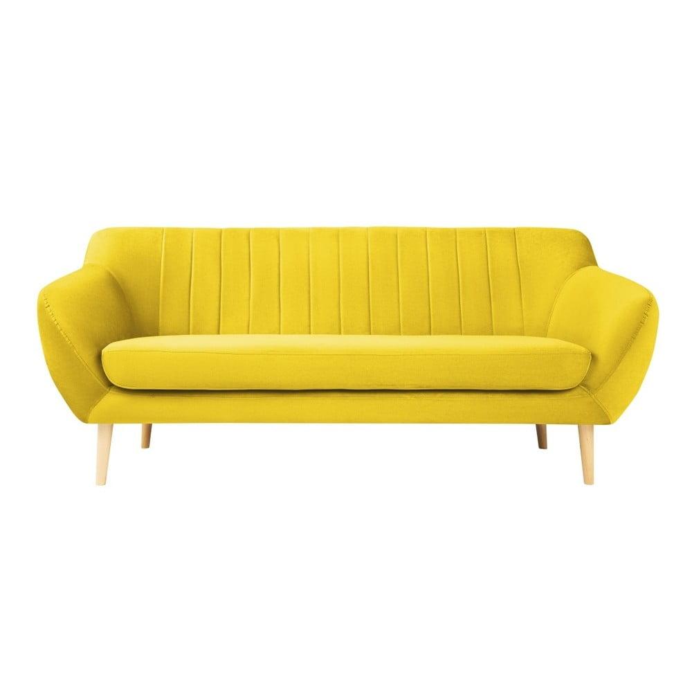 Żółta aksamitna sofa Mazzini Sofas Sardaigne, 188 cm