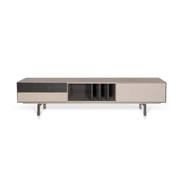 Beżowy stolik pod TV, dębowy Vintme AL2, 220cm