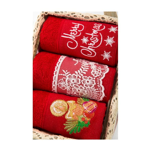 Zestaw 3 ręczników Xmas V29, 30x50 cm