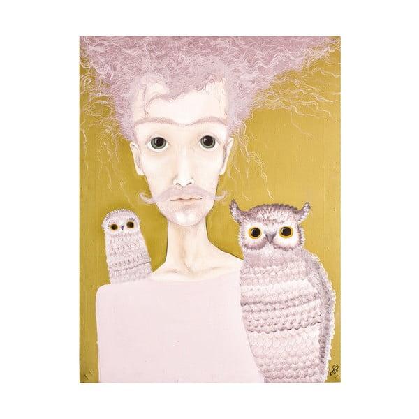 Plakat autorski: Léna Brauner Pan z sowami, 60x70 cm