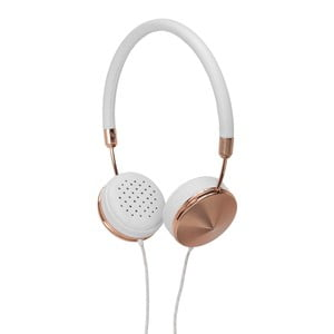 Białe słuchawki z detalami w barwie różowego złota Frends Layla