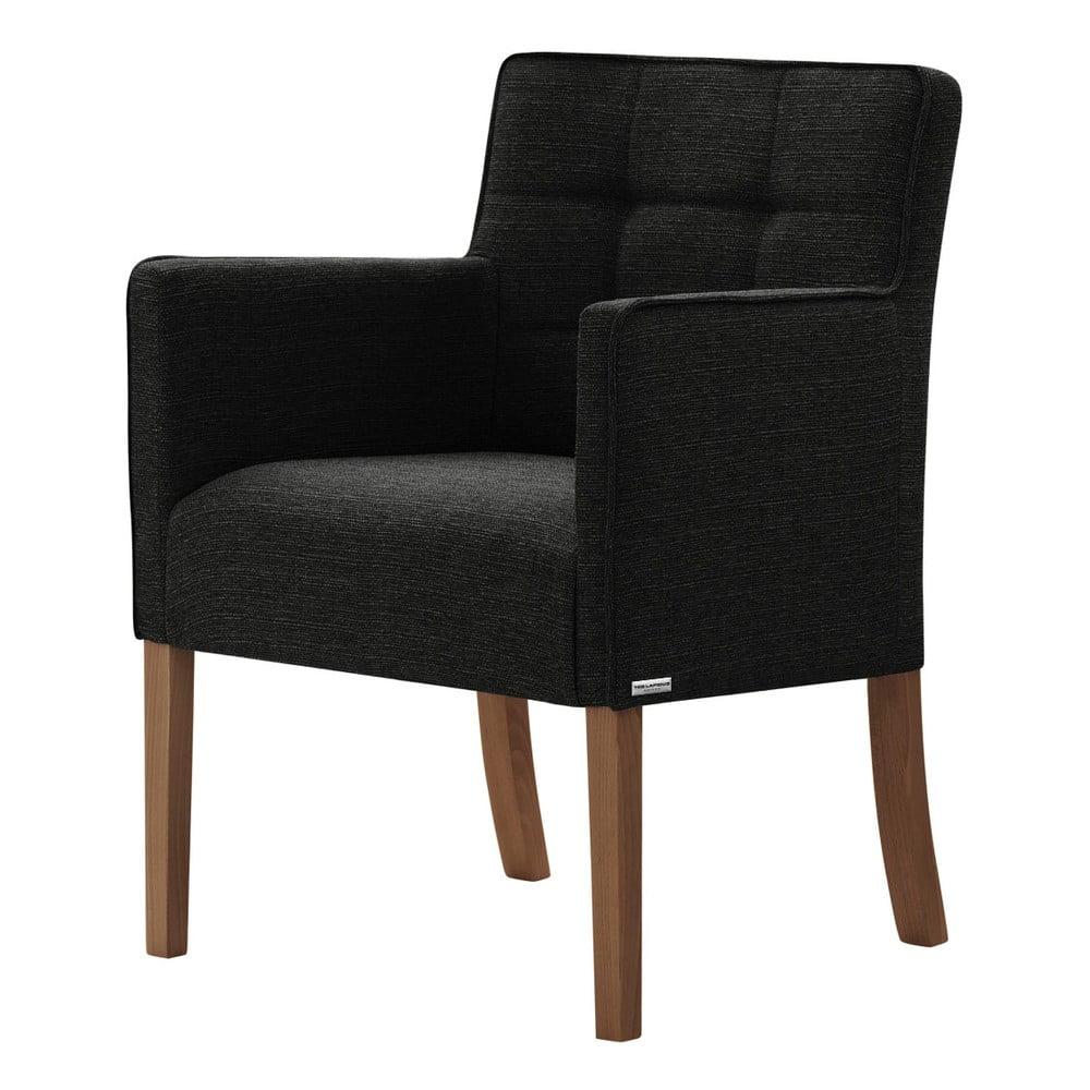 Czarne krzesło z ciemnobrązowymi nogami Ted Lapidus Maison Freesia