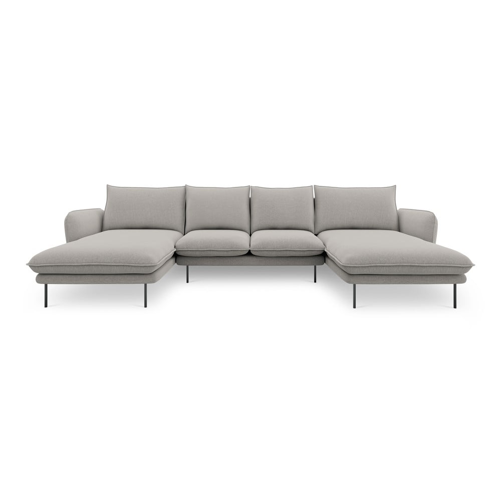 Jasnoszara sofa w kształcie litery U Cosmopolitan Design Vienna