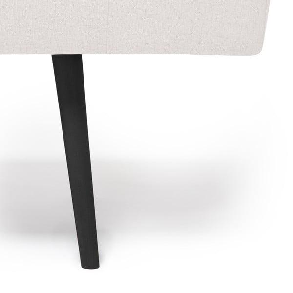 Jasnoszary szezlong z zagłówkiem i czarnymi nogami Vivonita Ella