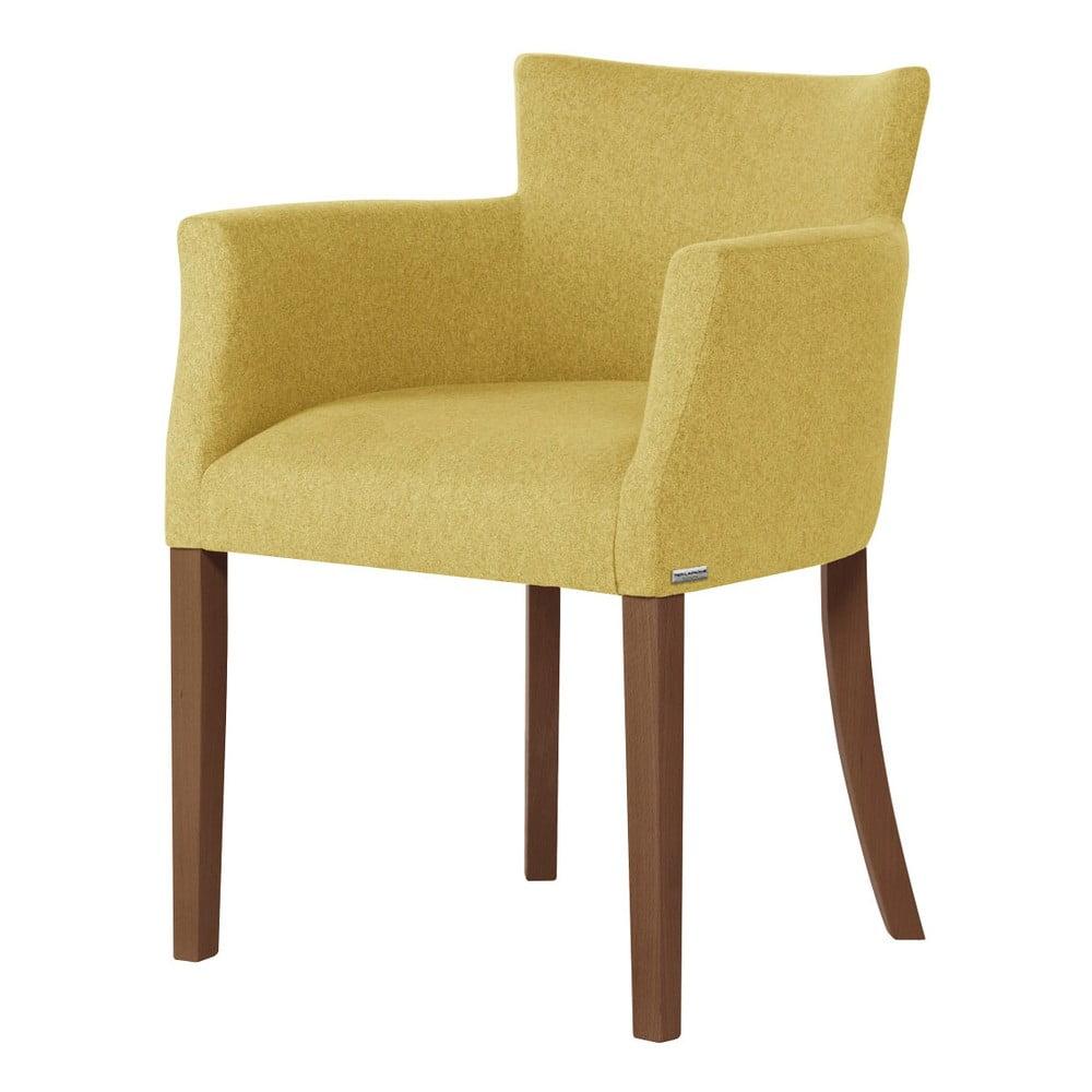 Żółte krzesło z ciemnobrązowymi nogami Ted Lapidus Maison Santal