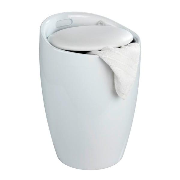 Biały kosz na pranie i taboret w jednym Wenko Candy, 20 l