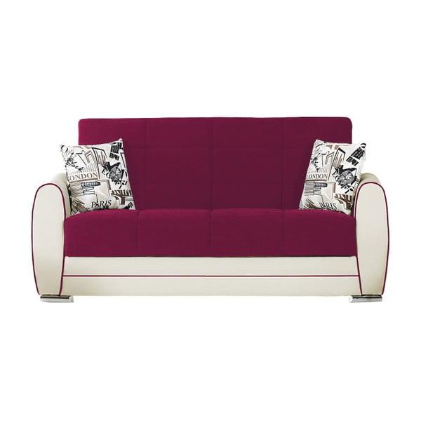 Różowo-bordowo-kremowa dwuosobowa sofa rozkładana ze schowkiem Esidra Rest