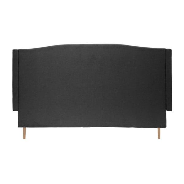 Czarne łóżko z naturalnymi nóżkami Vivonita Windsor, 160x200 cm