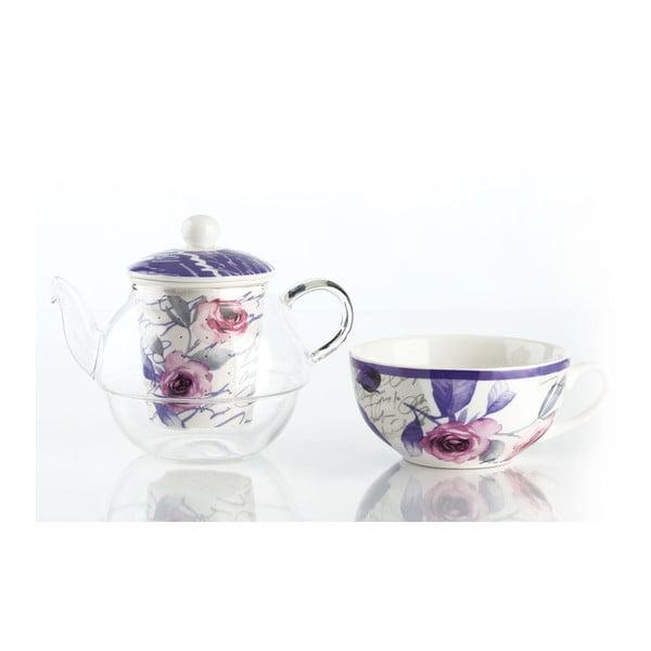 Zestaw do herbaty Violet, czajnik i kubek