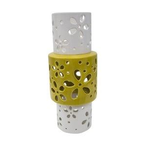 Żółto-biały wazon porcealanowy Mauro Ferretti Ring