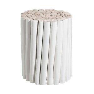 Biały stolik z drewna tekowego Tropicho