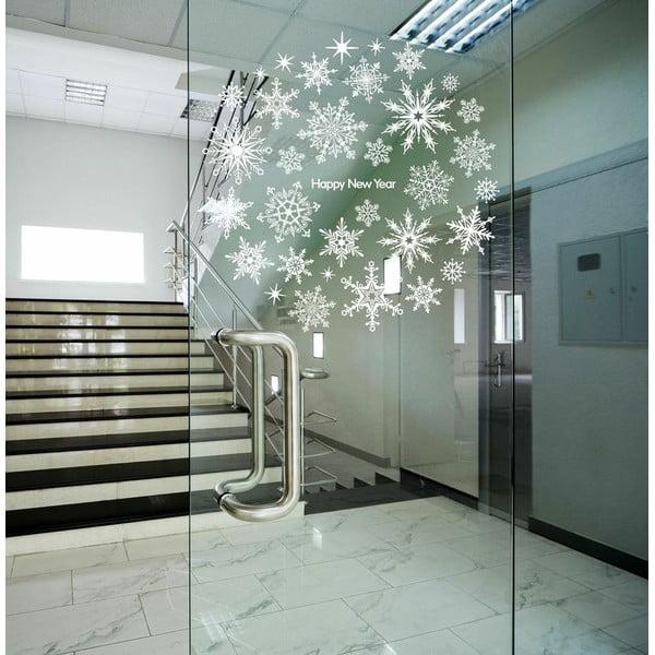 Naklejka   Christmas Stars and White Snowflakes