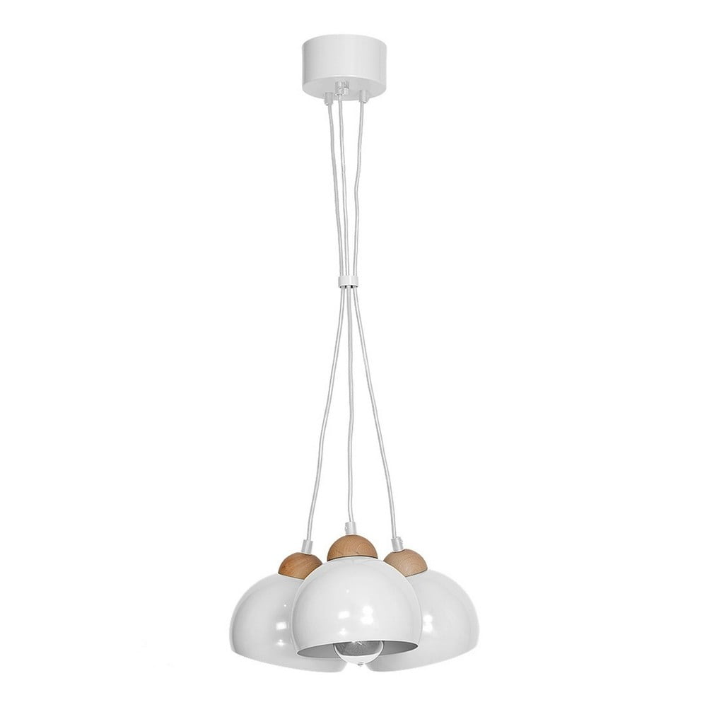 Biała lampa wisząca z drewnianymi detalami Dama Tres Perro