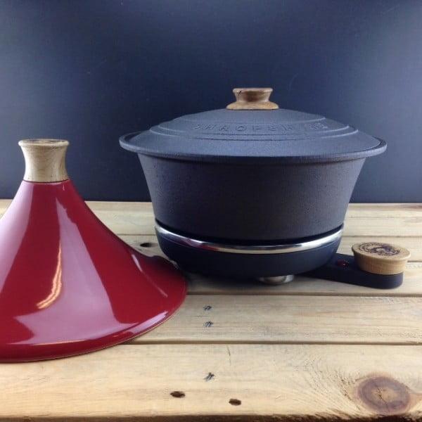 Żeliwny garnek do powolnego gotowania Netherton Foundry + tadżin, czerwony
