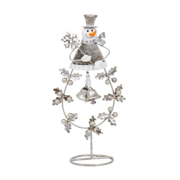 Dekoracja Archipelago Silver Leaf And Snowman, 16 cm