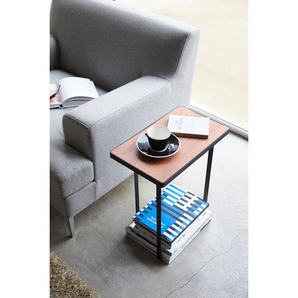Czarny stolik z gazetnikiem Yamazaki Tower Magazine Rack&Table