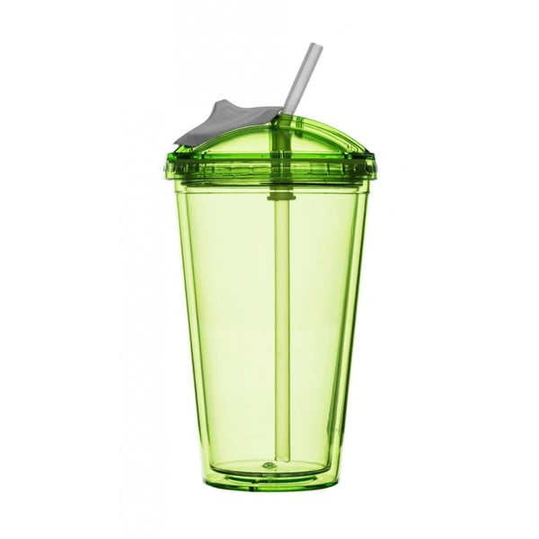 Kubek na smoothie ze słomką Sagaform, zielony