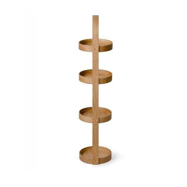 Regał łazienkowy z drewna dębowego Wireworks Round Caddy Mezza, 4 półki