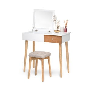 Biała toaletka z lustrem, schowkiem na biżuterię i stołkiem Chez Ro Beauty