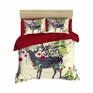 Dwuosobowa pościel z prześcieradłem Christmas Reindeer, 200x220 cm