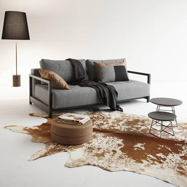 Szara nakrapiana sofa rozkładana z podłokietnikami Innovation Deluxe