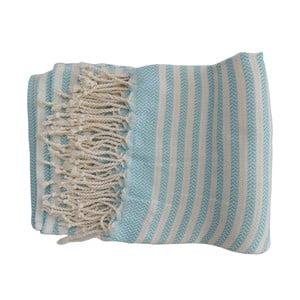 Turkusowo-biały ręcznie tkany ręcznik z bawełny premium Safir,100x180 cm