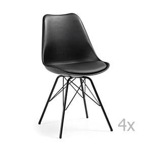 Zestaw 4 czarnych krzeseł do jadalni z metalowymi nogami La Forma Lars