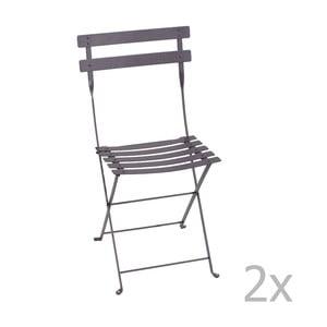 Zestaw 2 liliowych krzeseł składanych Fermob Bistro