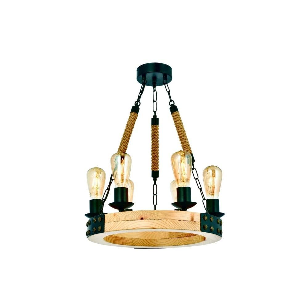 Lampa wisząca z drewna grabu Alara Natural 6lı