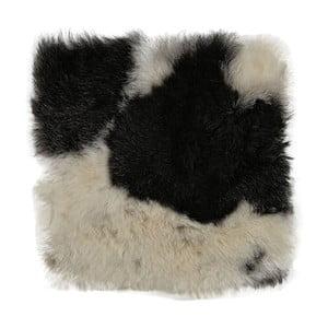 Czarno-biała poduszka futrzana do siedzenia z krótkim włosiem Spotted, 37x37 cm