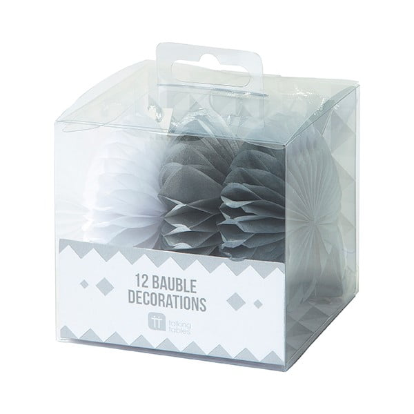 Papierowa dekoracja Talking Tables White & Silver Mini Fans , 12 szt.