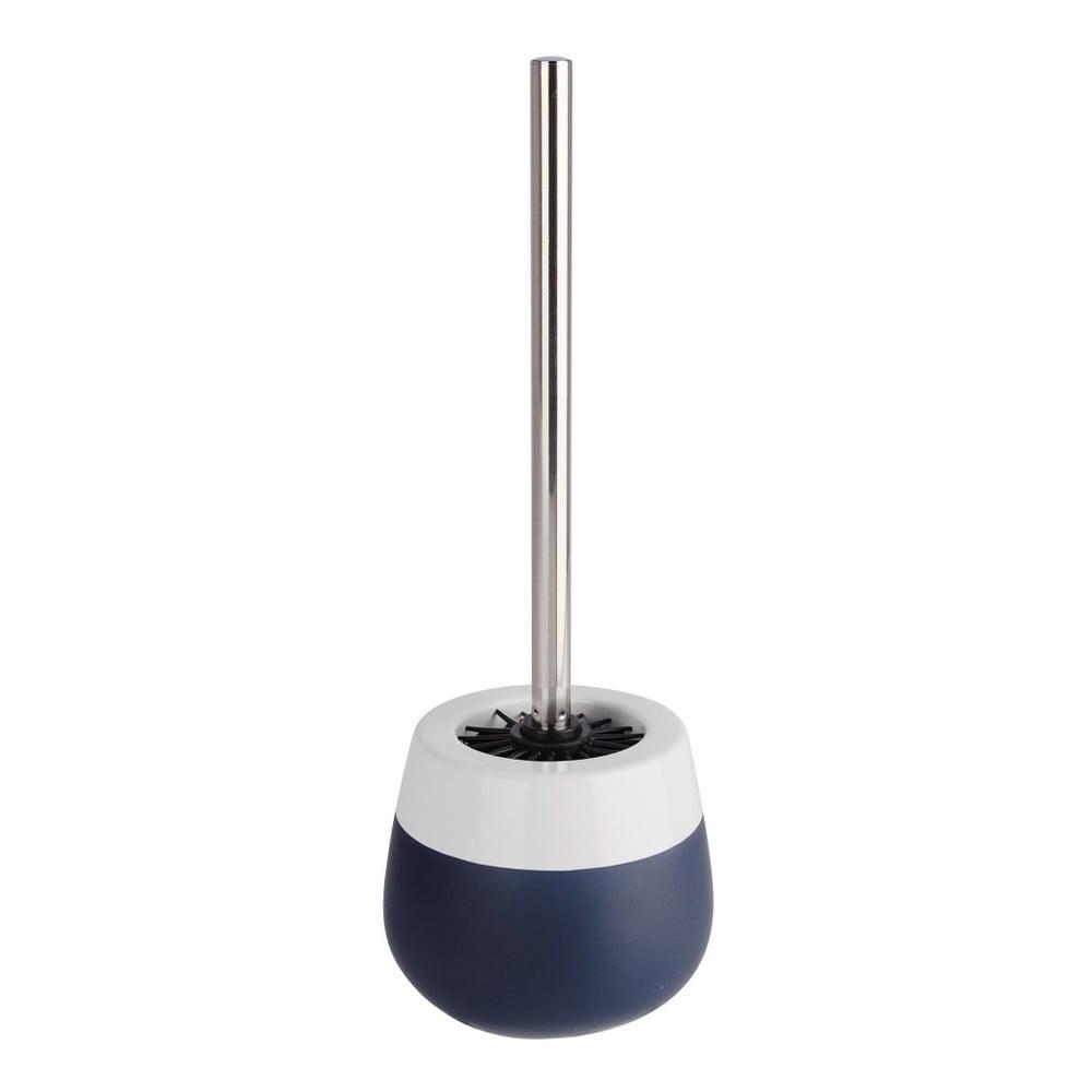 Niebiesko-biała szczotka do WC w ceramicznym pojemniku Wenko Matta