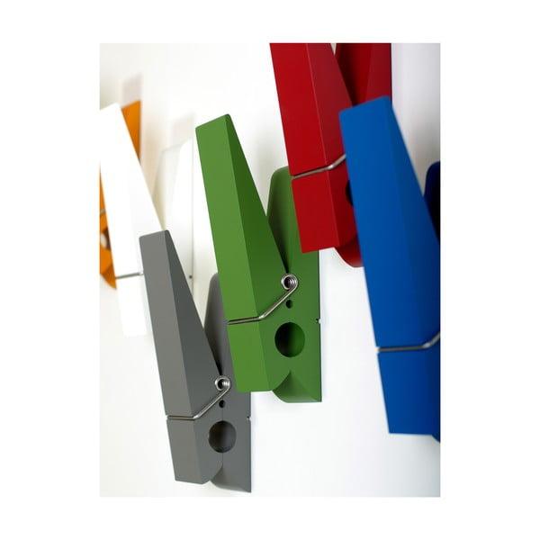Zielony wieszak w kształcie klamerki Swab Design