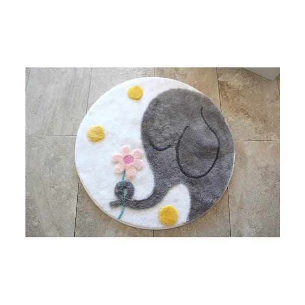 Dywanik łazienkowy z motywem słonia Alessia Buyuk Fil Grey, Ø 90 cm