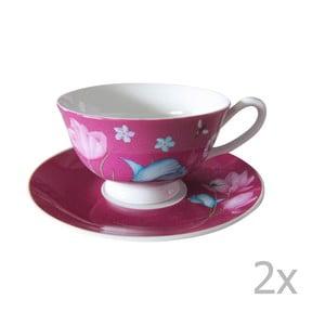 Komplet 2 różowych filiżanek na cappuccino Ruby