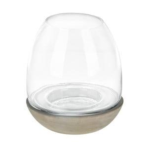 Świecznik szklany z ceramiczną podstawką Dino Bianchi, wysokość20cm