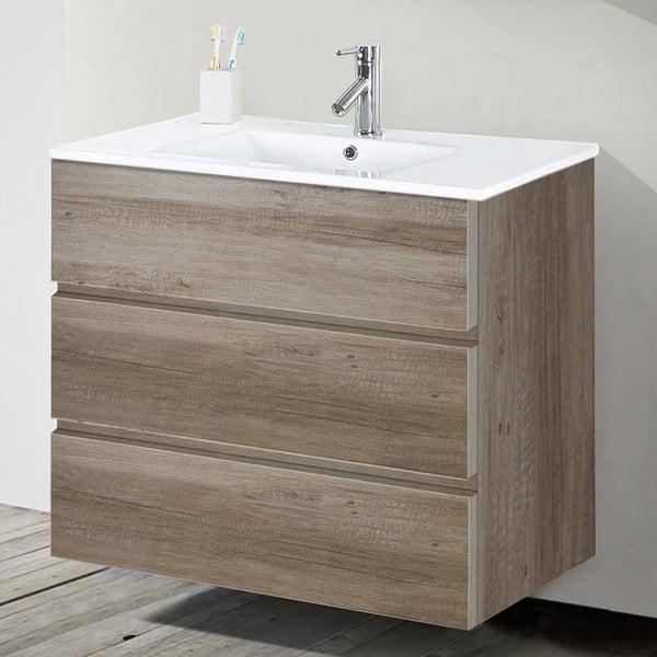 Szafka do łazienki z umywalką i lustrem Nayade, motyw dębu, 80 cm