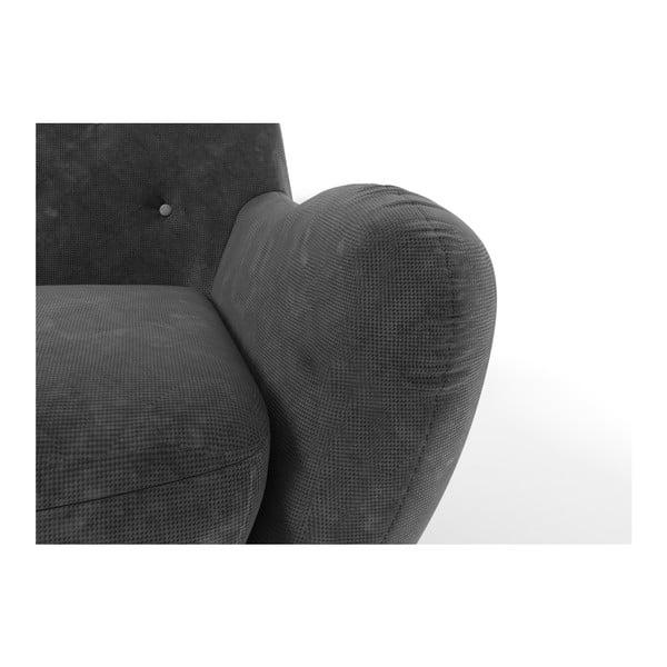 Ciemnoszara   sofa trzyosobowa z jasnoszarymi guzikami Wintech Zefir
