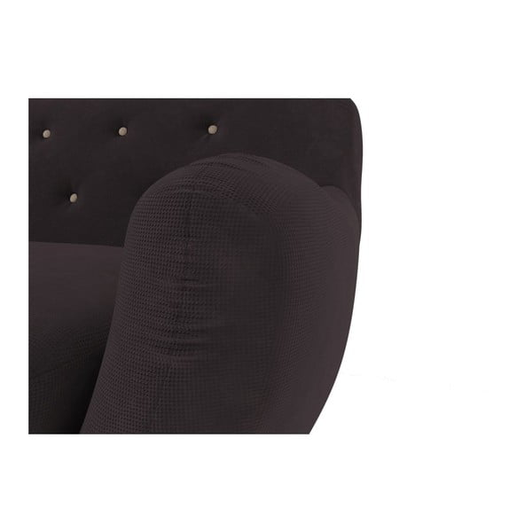 Ciemnobrązowa   sofa dwuosobowa z beżowymi guzikami Wintech Zefir