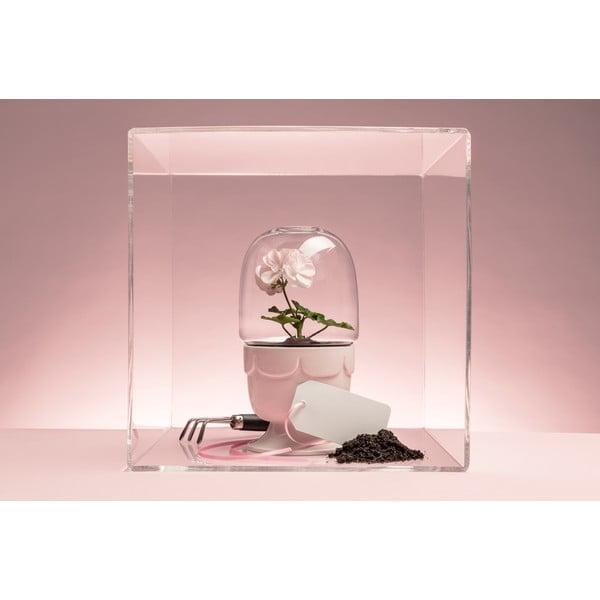 Doniczka z przykrywką Sagaform Greenhouse, pastelowo różowy