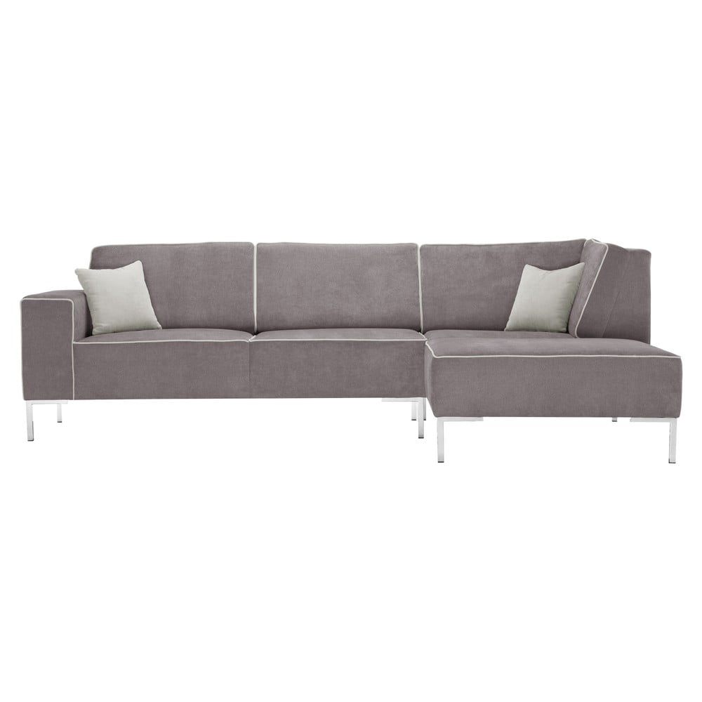Srebrna sofa narożna Corinne Cobson Blackbird, prawy róg