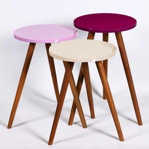 Zestaw 3 stolików Kate Louise Round (kremowy, różowy, ciemnofioletowy)