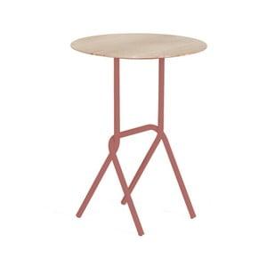 Stolik z różową metalową konstrukcją Harto Désiré, ⌀ 40cm