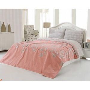 Narzuta, poszewki na poduszkę i prześcieradło US Polo 200x220 cm, łososiowy