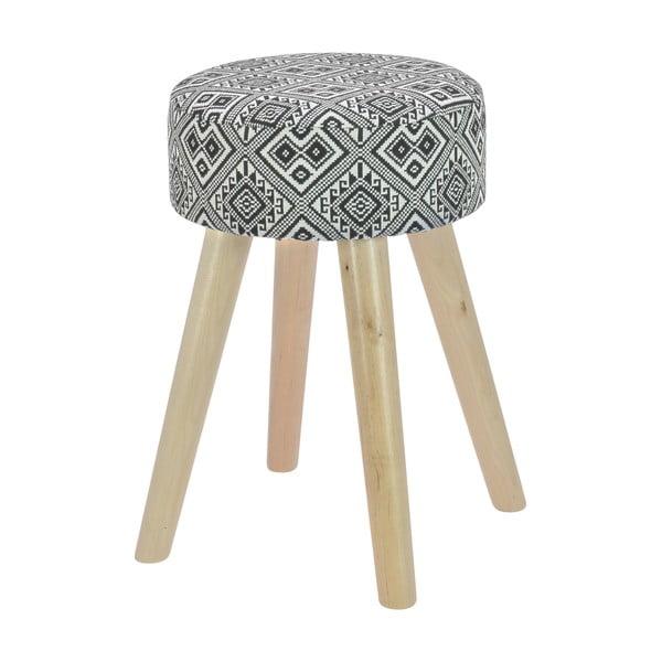 Drewniany stołek z materiałowym obiciem Squares Black & White
