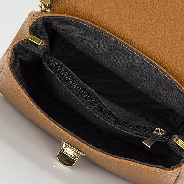 Jasnobrązowa skórzana torebka z kokardą Giorgio Costa Saffiano